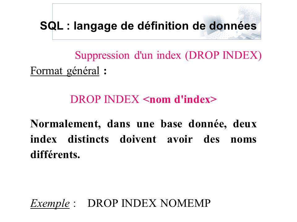 Format général : DROP INDEX Normalement, dans une base donnée, deux index distincts doivent avoir des noms différents. Exemple : DROP INDEX NOMEMP Sup