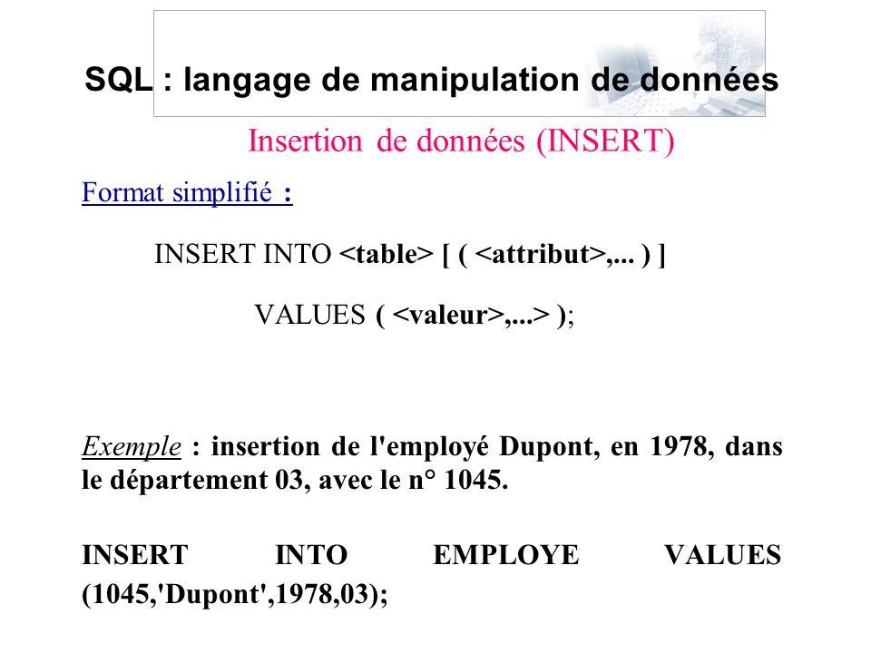 Format simplifié : INSERT INTO [ (,... ) ] VALUES (,...> ); Exemple : insertion de l'employé Dupont, en 1978, dans le département 03, avec le n° 1045.