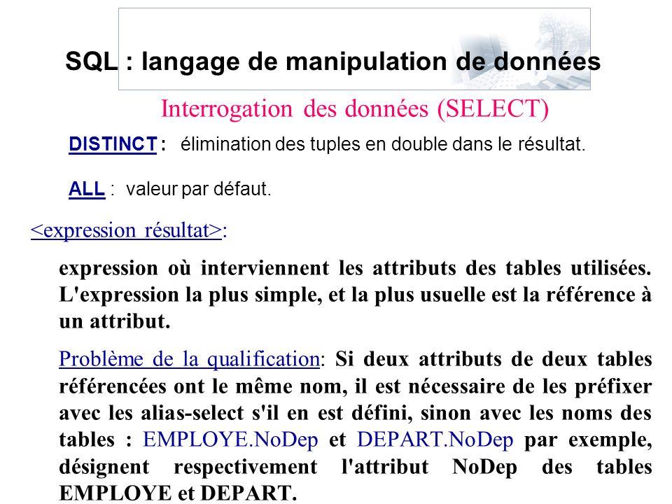 : expression où interviennent les attributs des tables utilisées. L'expression la plus simple, et la plus usuelle est la référence à un attribut. Prob