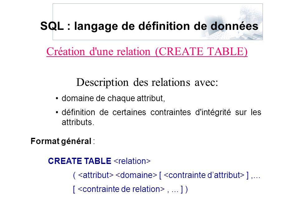 Création d'une relation (CREATE TABLE) Description des relations avec: SQL : langage de définition de données domaine de chaque attribut, définition d