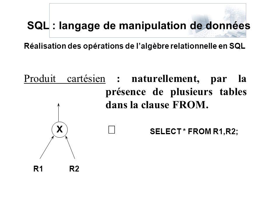 Produit cartésien : naturellement, par la présence de plusieurs tables dans la clause FROM. Réalisation des opérations de lalgèbre relationnelle en SQ