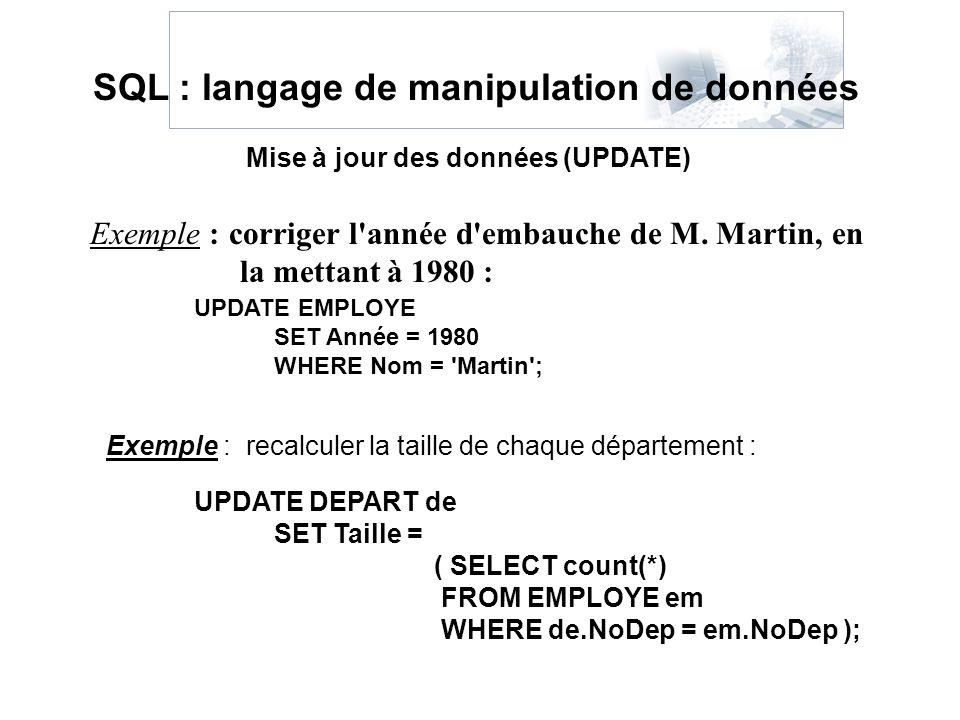 Exemple : corriger l'année d'embauche de M. Martin, en la mettant à 1980 : Mise à jour des données (UPDATE) SQL : langage de manipulation de données U