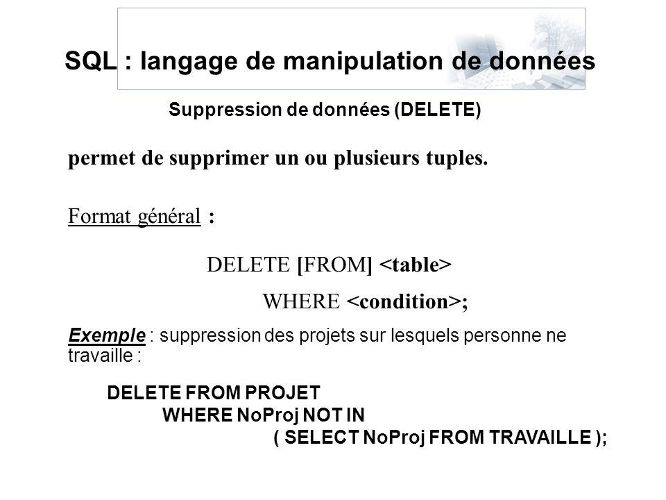 permet de supprimer un ou plusieurs tuples. Format général : DELETE [FROM] WHERE ; SQL : langage de manipulation de données Suppression de données (DE