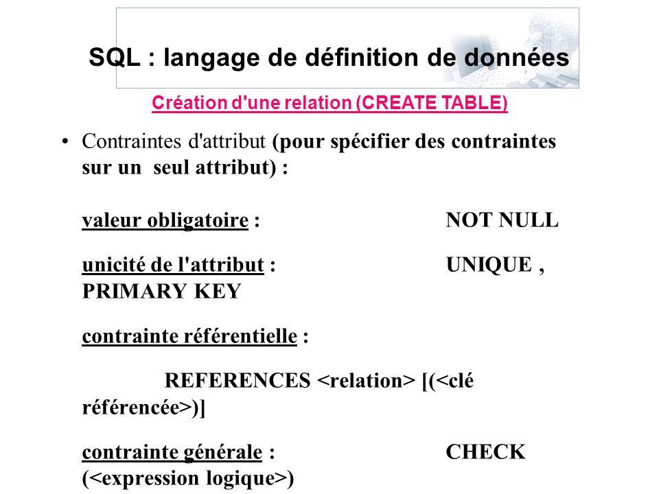 Contraintes d'attribut (pour spécifier des contraintes sur un seul attribut) : valeur obligatoire :NOT NULL unicité de l'attribut :UNIQUE, PRIMARY KEY