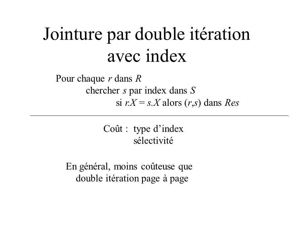Jointure par double itération avec index Pour chaque r dans R chercher s par index dans S si r.X = s.X alors (r,s) dans Res Coût : type dindex sélecti