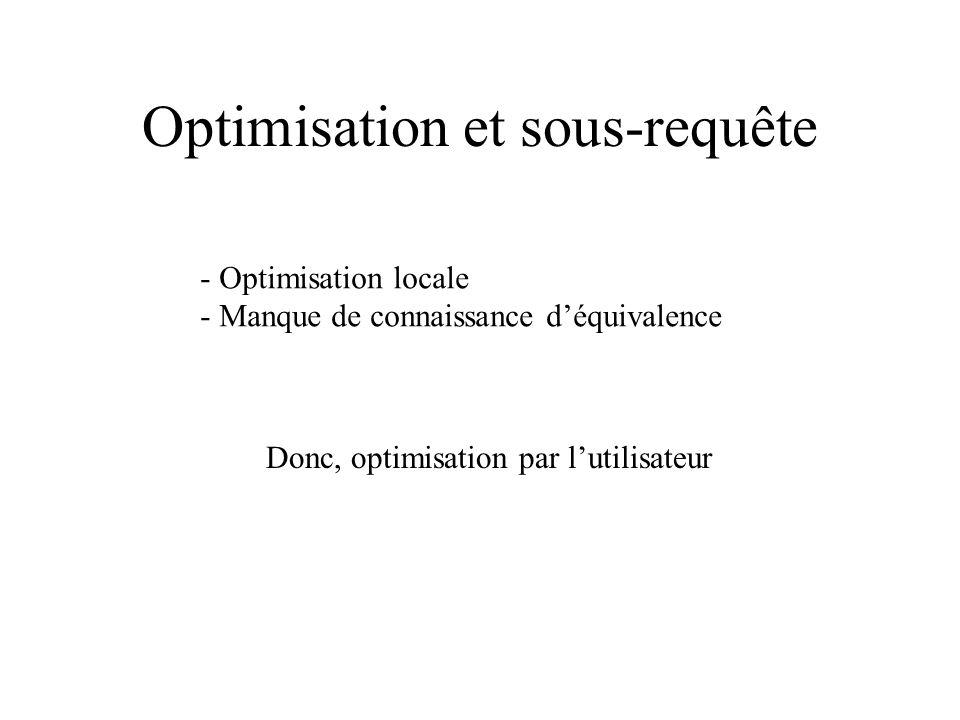 Optimisation et sous-requête - Optimisation locale - Manque de connaissance déquivalence Donc, optimisation par lutilisateur