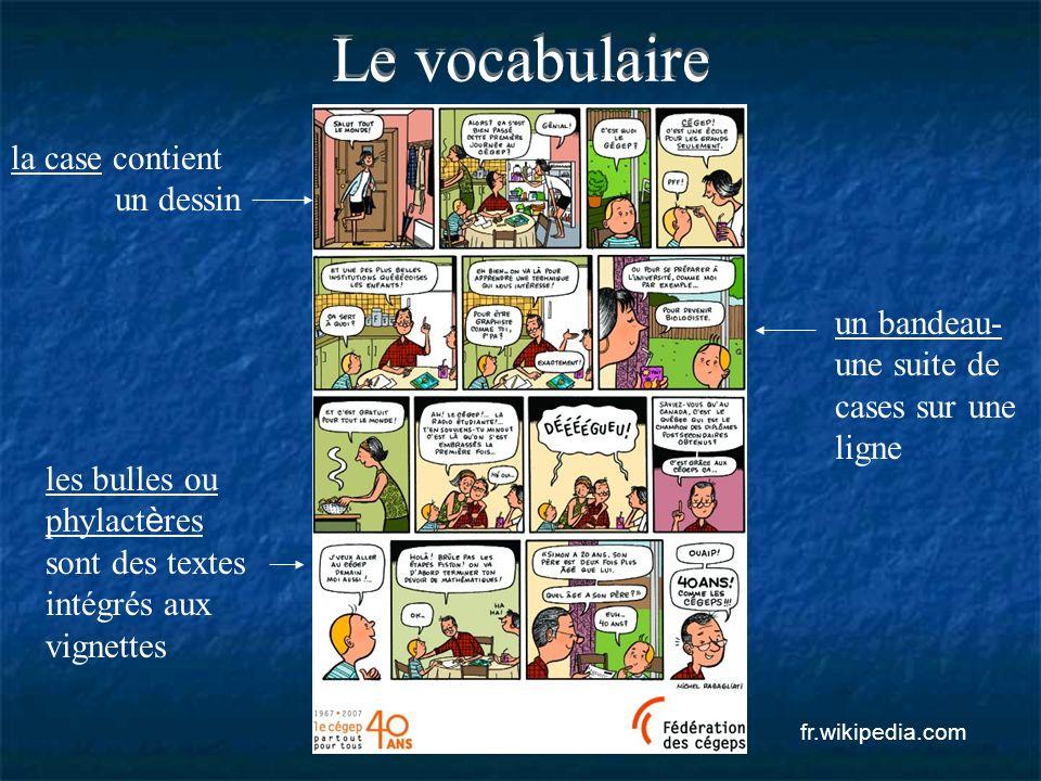 Le vocabulaire la case contient un dessin un bandeau- une suite de cases sur une ligne les bulles ou phylact è res sont des textes intégrés aux vignet