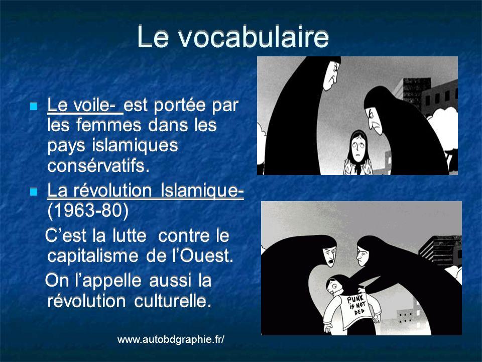 Le vocabulaire Le voile- est portée par les femmes dans les pays islamiques consérvatifs. La révolution Islamique- (1963-80) Cest la lutte contre le c