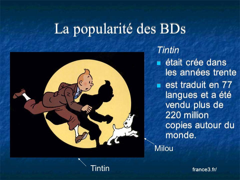 La popularité des BDs Tintin était crée dans les années trente est traduit en 77 langues et a été vendu plus de 220 million copies autour du monde. Ti
