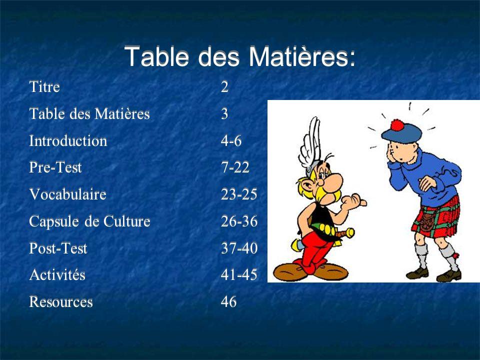 Table des Matières: Titre2 Table des Matières3 Introduction4-6 Pre-Test7-22 Vocabulaire 23-25 Capsule de Culture 26-36 Post-Test37-40 Activités41-45 R