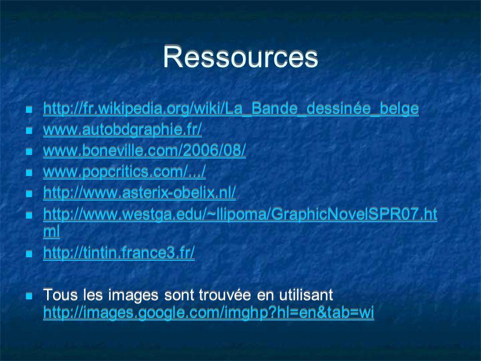 Ressources http://fr.wikipedia.org/wiki/La_Bande_dessinée_belge www.autobdgraphie.fr/ www.boneville.com/2006/08/ www.popcritics.com/.../ http://www.as