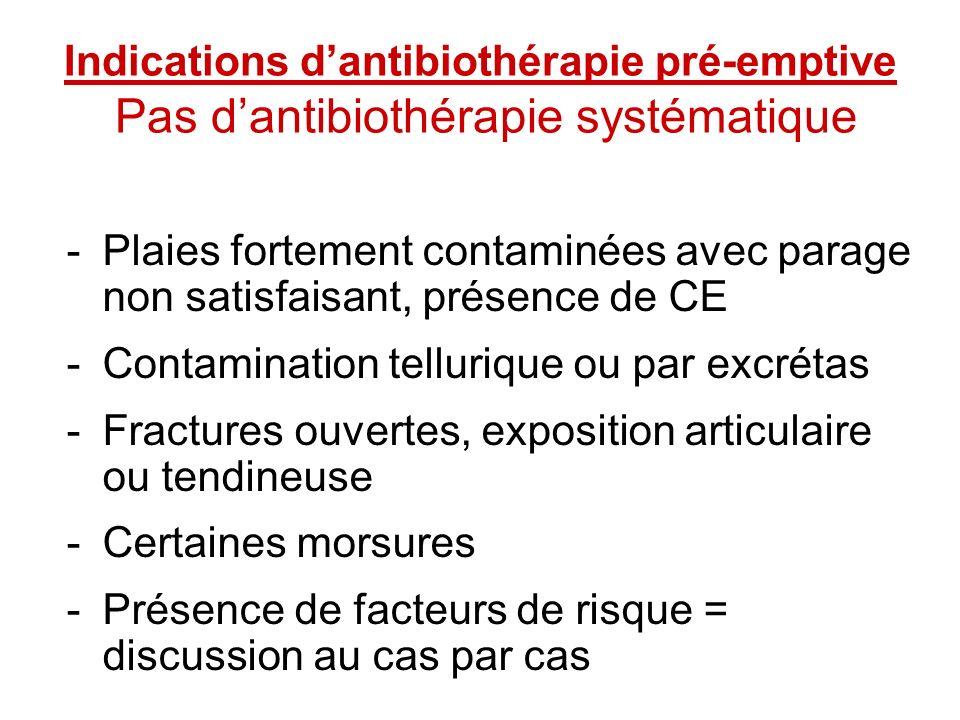 Indications dantibiothérapie pré-emptive Pas dantibiothérapie systématique -Plaies fortement contaminées avec parage non satisfaisant, présence de CE