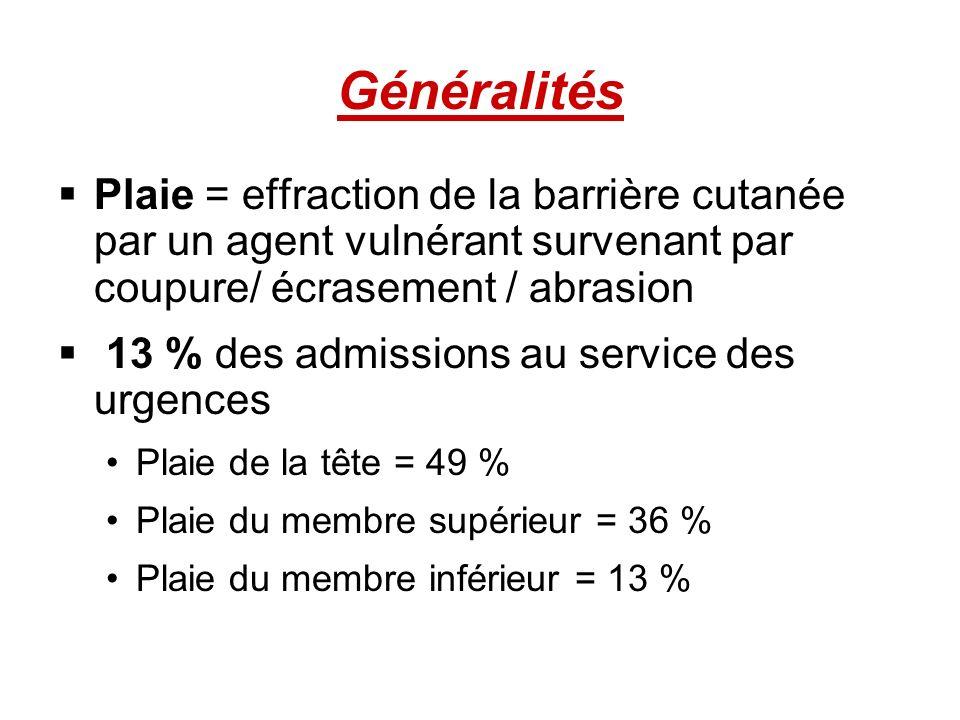 Généralités Plaie = effraction de la barrière cutanée par un agent vulnérant survenant par coupure/ écrasement / abrasion 13 % des admissions au servi