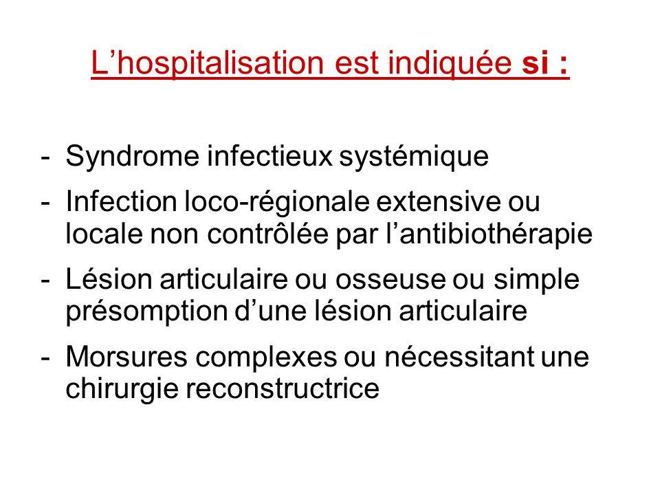 Lhospitalisation est indiquée si : -Syndrome infectieux systémique -Infection loco-régionale extensive ou locale non contrôlée par lantibiothérapie -L