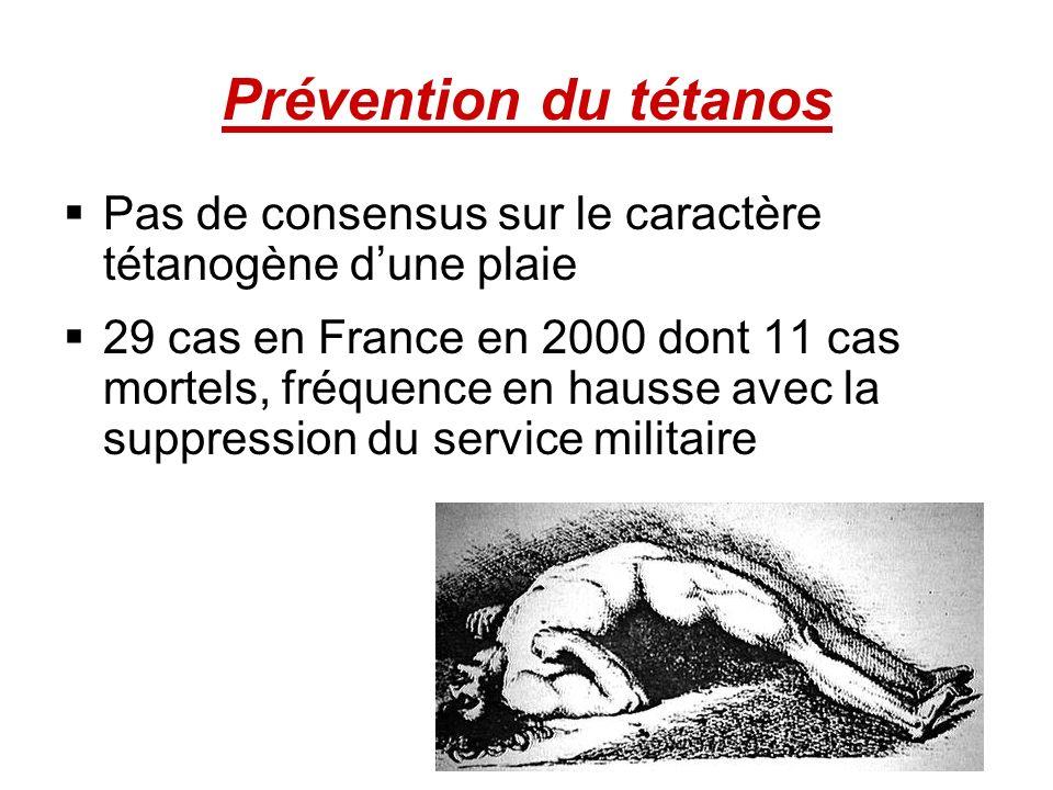 Prévention du tétanos Pas de consensus sur le caractère tétanogène dune plaie 29 cas en France en 2000 dont 11 cas mortels, fréquence en hausse avec l