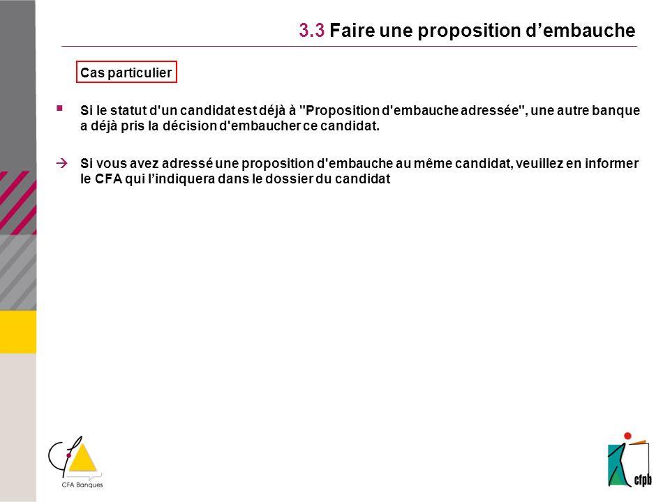 3.3 Faire une proposition dembauche Cas particulier Si le statut d'un candidat est déjà à