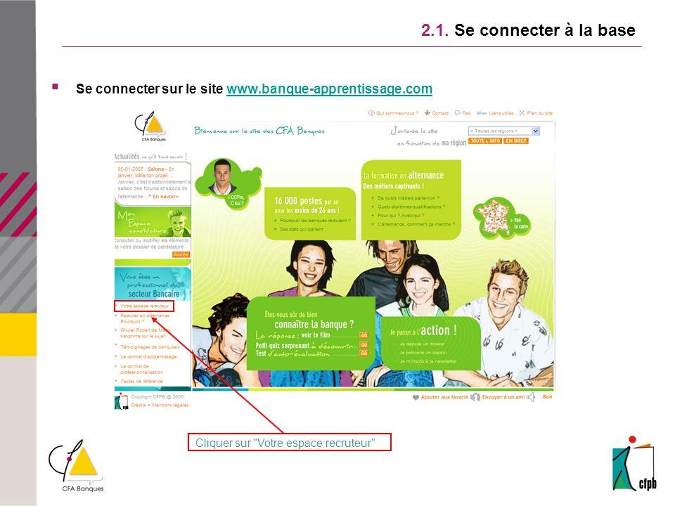 2.1. Se connecter à la base Se connecter sur le site www.banque-apprentissage.comwww.banque-apprentissage.com Cliquer sur