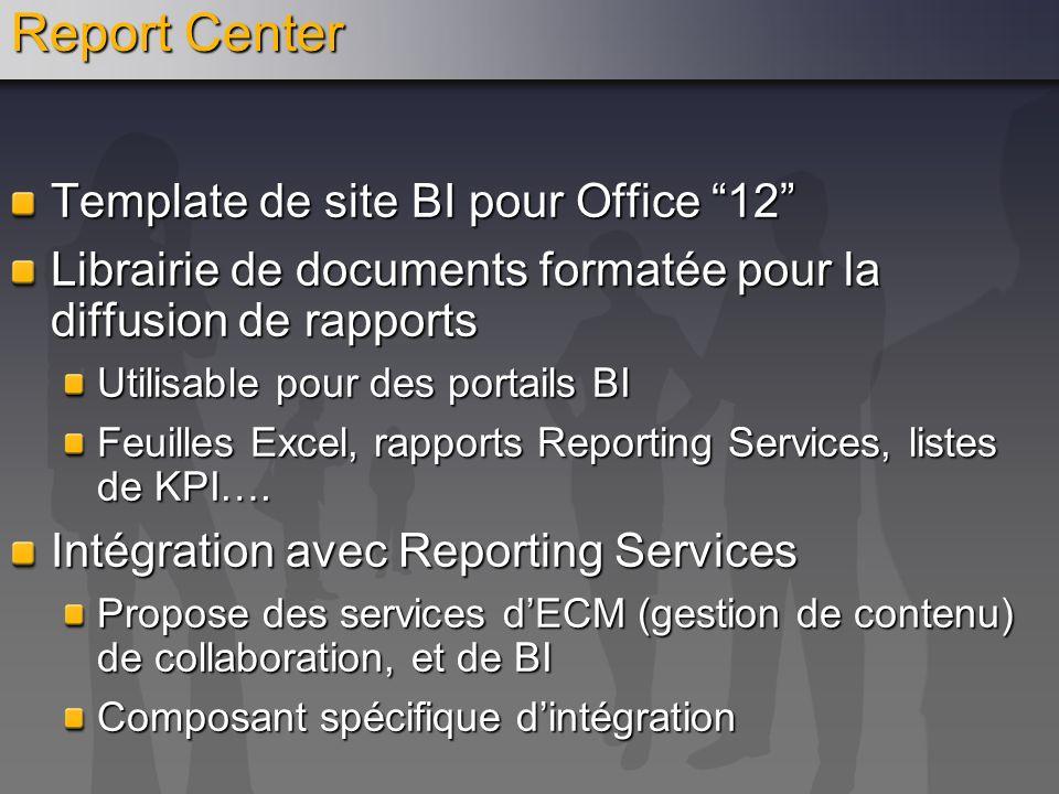 Report Center Template de site BI pour Office 12 Librairie de documents formatée pour la diffusion de rapports Utilisable pour des portails BI Feuille