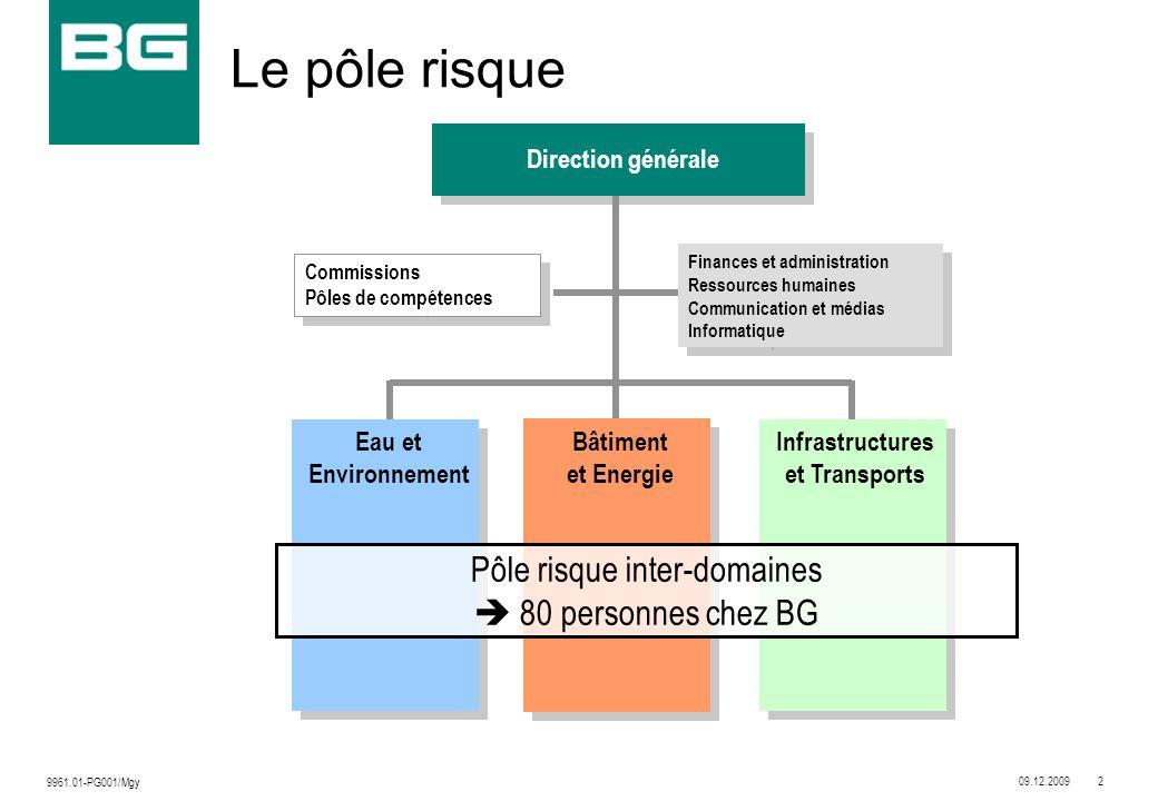 09.12.20092 9961.01-PG001/Mgy Le pôle risque Eau et Environnement Bâtiment et Energie Infrastructures et Transports Commissions Pôles de compétences D