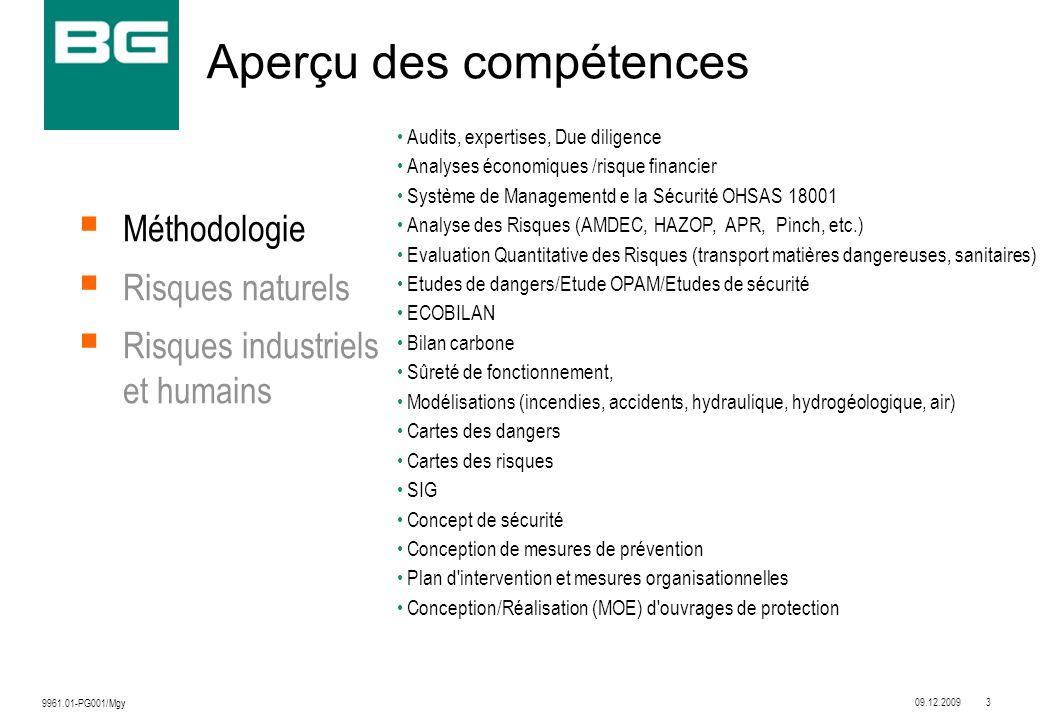 09.12.20093 9961.01-PG001/Mgy Audits, expertises, Due diligence Analyses économiques /risque financier Système de Managementd e la Sécurité OHSAS 1800