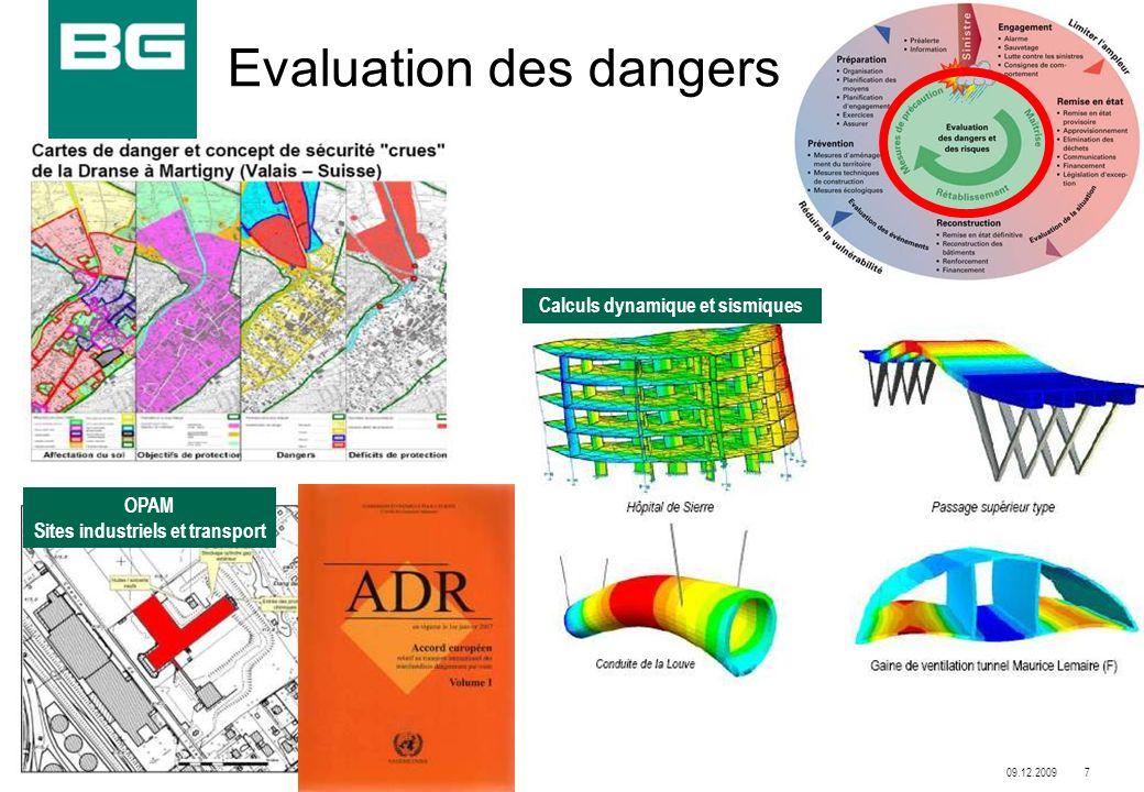 09.12.20097 9961.01-PG001/Mgy Evaluation des dangers Calculs dynamique et sismiques OPAM Sites industriels et transport