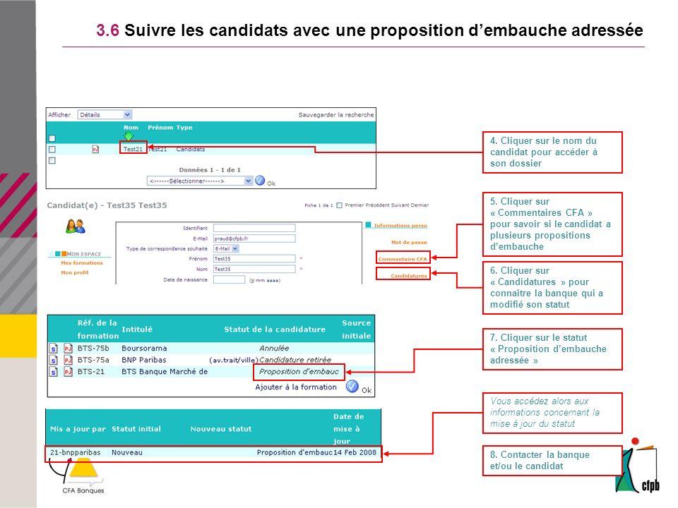 3.6 Suivre les candidats avec une proposition dembauche adressée 4.