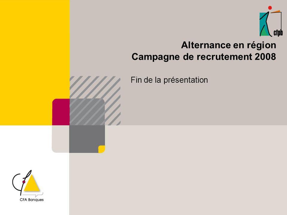 Alternance en région Campagne de recrutement 2008 Fin de la présentation
