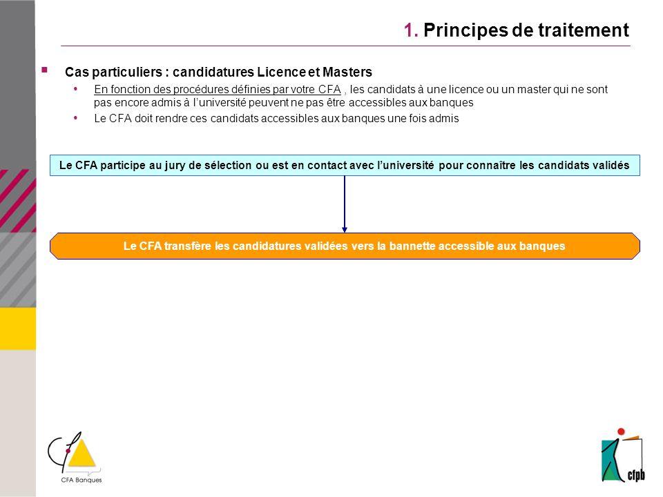 1. Principes de traitement Cas particuliers : candidatures Licence et Masters En fonction des procédures définies par votre CFA, les candidats à une l