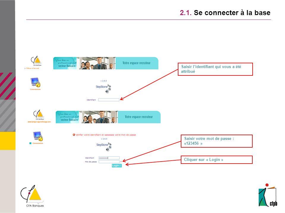 2.1. Se connecter à la base Saisir lidentifiant qui vous a été attribué Saisir votre mot de passe : «123456 » Cliquer sur « Login »