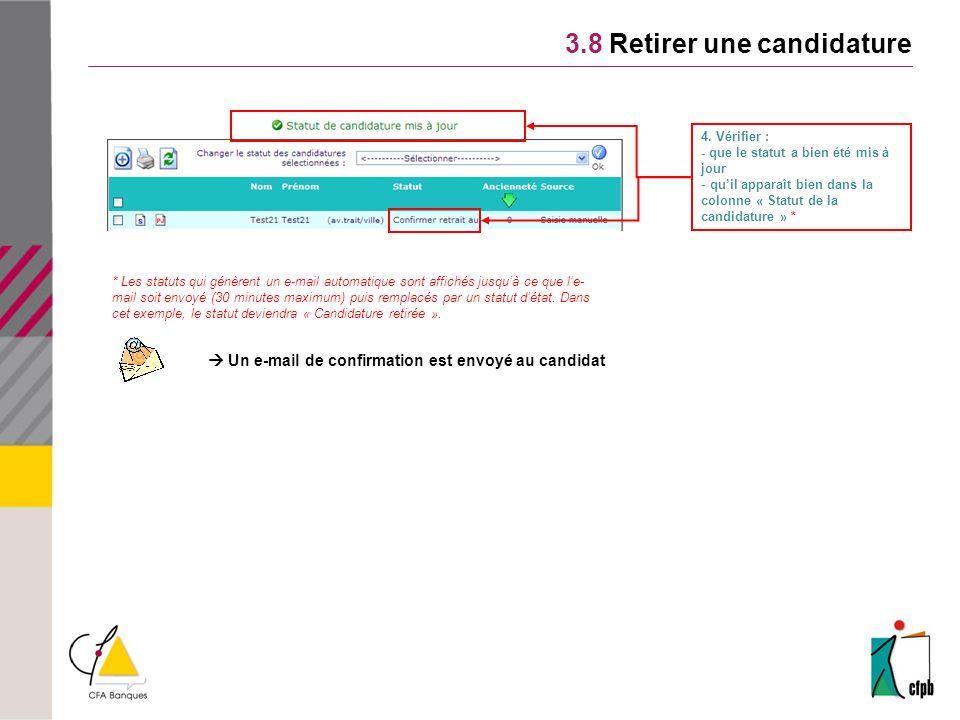 Un e-mail de confirmation est envoyé au candidat 3.8 Retirer une candidature 4.