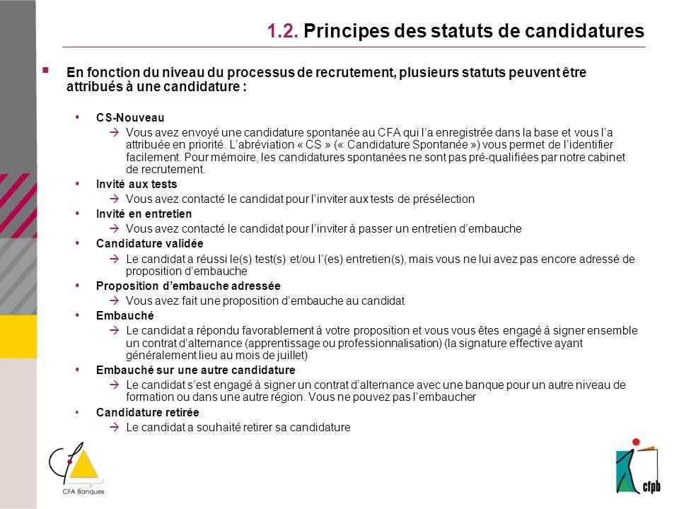 1.2. Principes des statuts de candidatures En fonction du niveau du processus de recrutement, plusieurs statuts peuvent être attribués à une candidatu