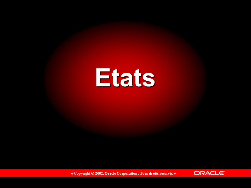 « Copyright 2002, Oracle Corporation. Tous droits réservés » Etats