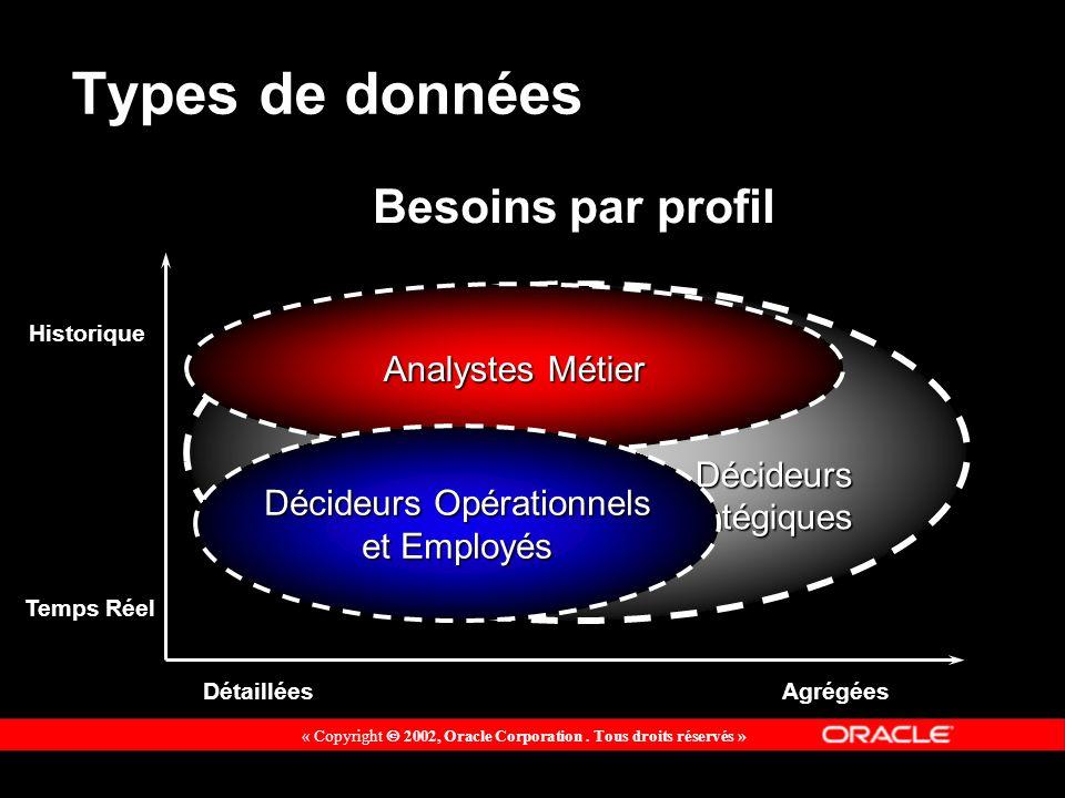 Types de données Historique Temps Réel DétailléesAgrégées Besoins par profil Décideurs DécideursStratégiques Analystes Métier Décideurs Opérationnels et Employés