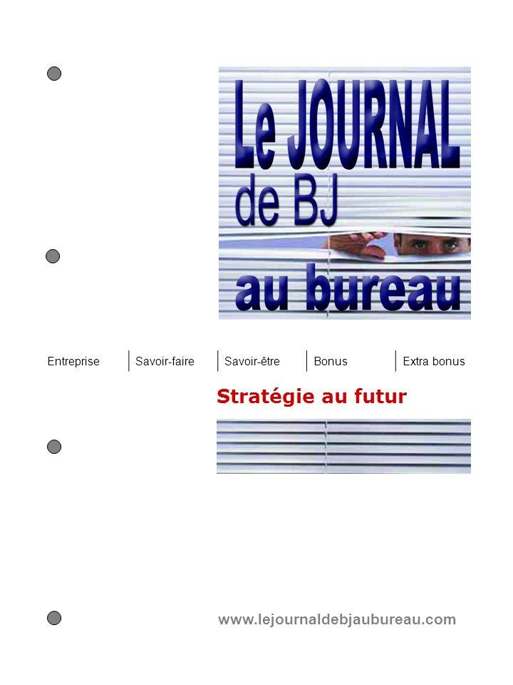 Stratégie au futur www.lejournaldebjaubureau.com EntrepriseSavoir-faireSavoir-êtreBonusExtra bonus