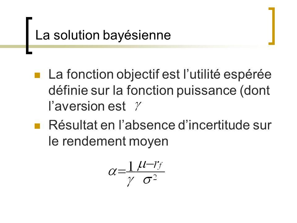 La solution bayésienne La fonction objectif est lutilité espérée définie sur la fonction puissance (dont laversion est Résultat en labsence dincertitu