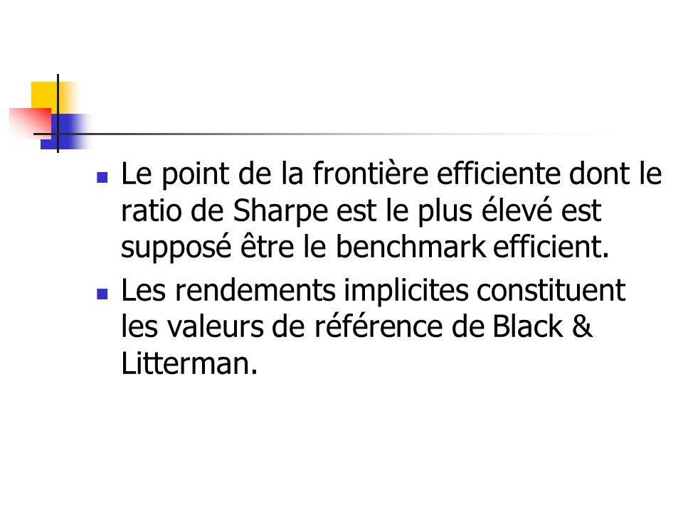Le point de la frontière efficiente dont le ratio de Sharpe est le plus élevé est supposé être le benchmark efficient. Les rendements implicites const
