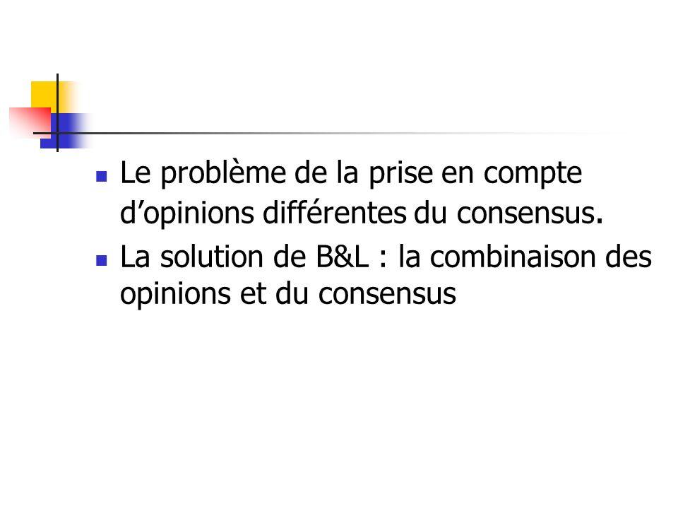 Le problème de la prise en compte dopinions différentes du consensus. La solution de B&L : la combinaison des opinions et du consensus