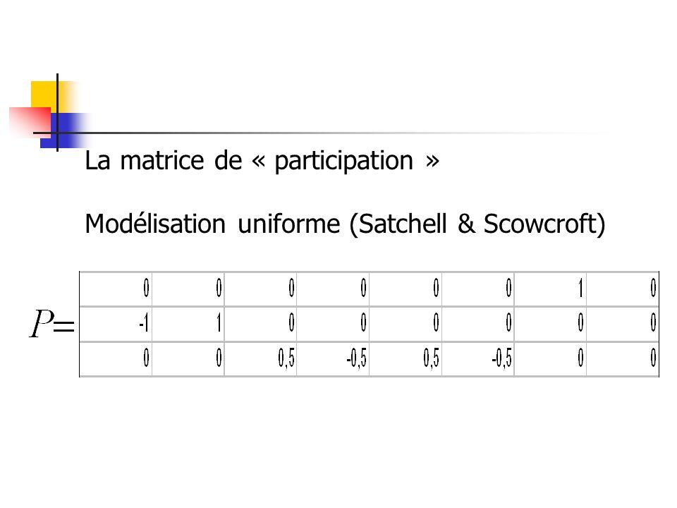 La matrice de « participation » Modélisation uniforme (Satchell & Scowcroft)