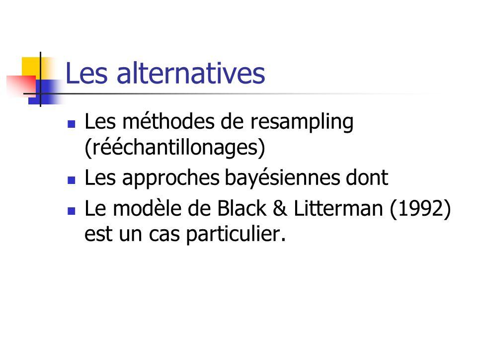 Les alternatives Les méthodes de resampling (rééchantillonages) Les approches bayésiennes dont Le modèle de Black & Litterman (1992) est un cas partic