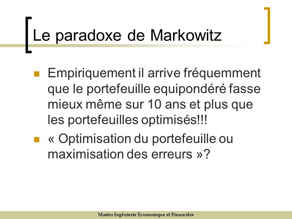 Le paradoxe de Markowitz Empiriquement il arrive fréquemment que le portefeuille equipondéré fasse mieux même sur 10 ans et plus que les portefeuilles optimisés!!.