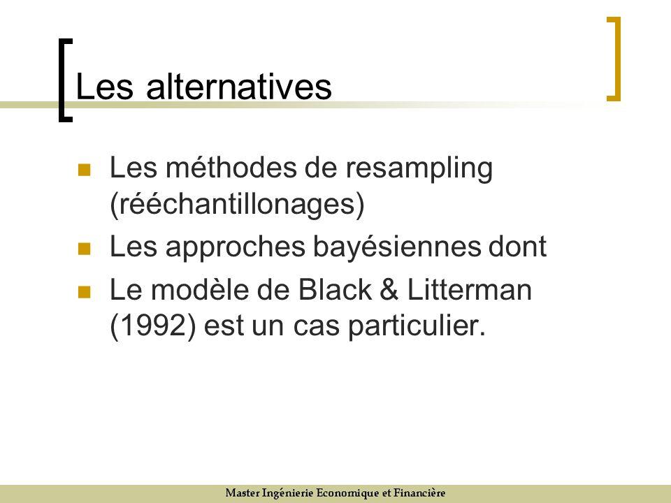 Les alternatives Les méthodes de resampling (rééchantillonages) Les approches bayésiennes dont Le modèle de Black & Litterman (1992) est un cas particulier.
