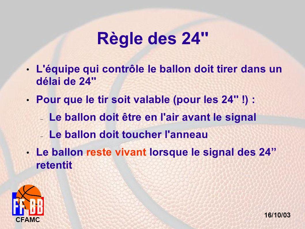 16/10/03 CFAMC Règle des 24'' L'équipe qui contrôle le ballon doit tirer dans un délai de 24'' Pour que le tir soit valable (pour les 24'' !) : – Le b