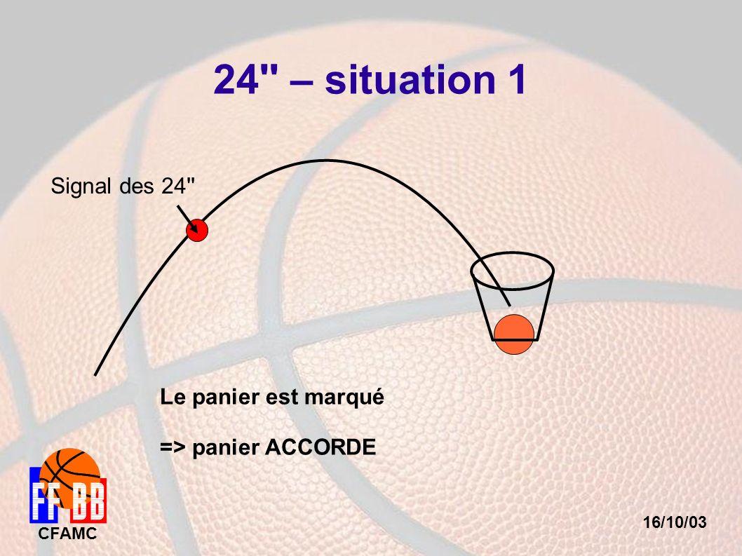 16/10/03 CFAMC 24'' – situation 1 Signal des 24'' Le panier est marqué => panier ACCORDE