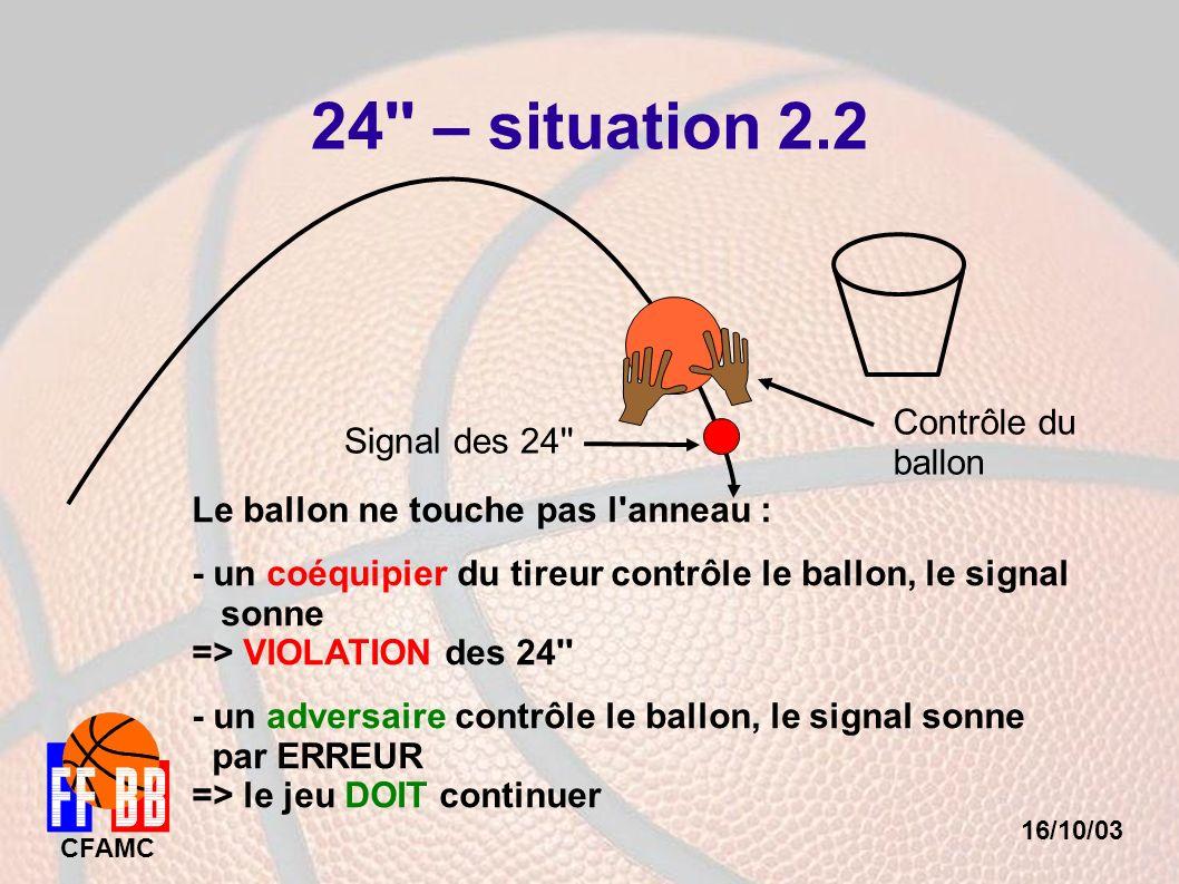 16/10/03 CFAMC 24'' – situation 2.2 Signal des 24'' Le ballon ne touche pas l'anneau : - un coéquipier du tireur contrôle le ballon, le signal sonne =