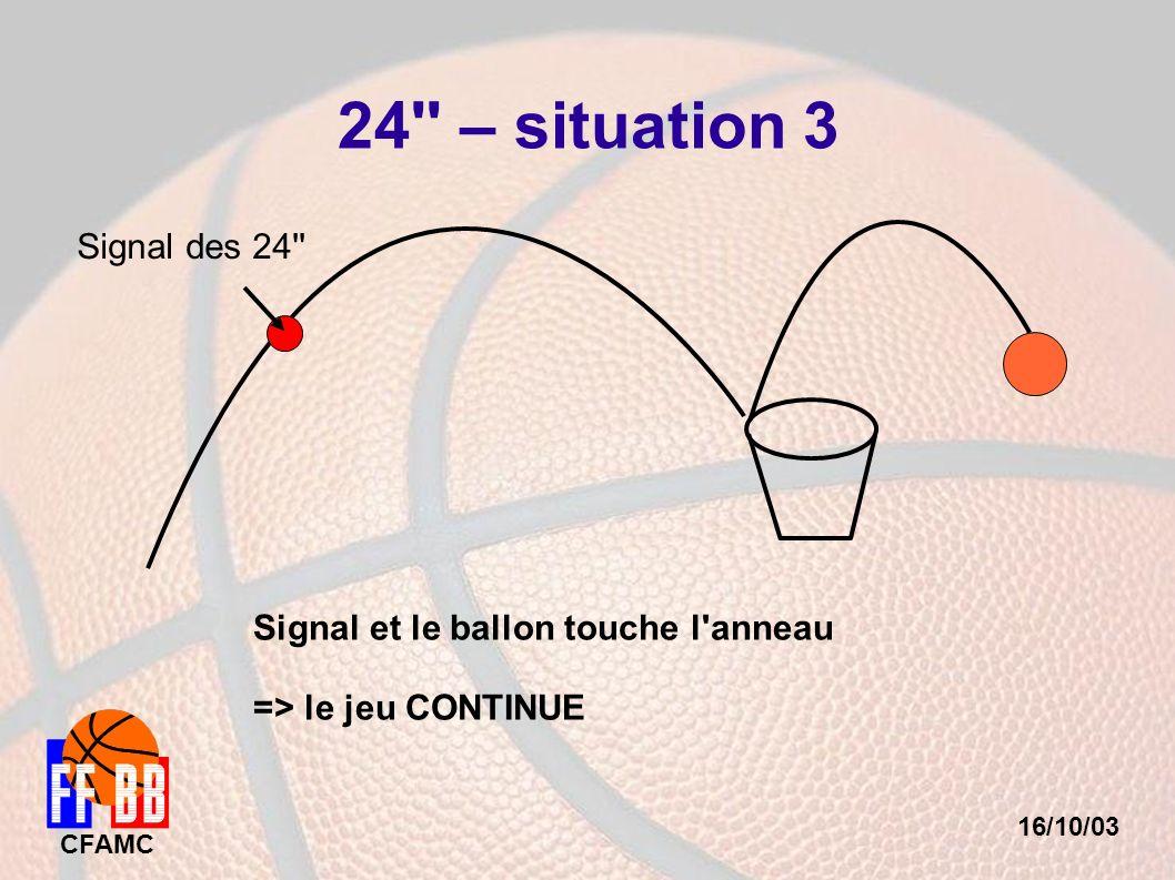16/10/03 CFAMC 24'' – situation 3 Signal des 24'' Signal et le ballon touche l'anneau => le jeu CONTINUE
