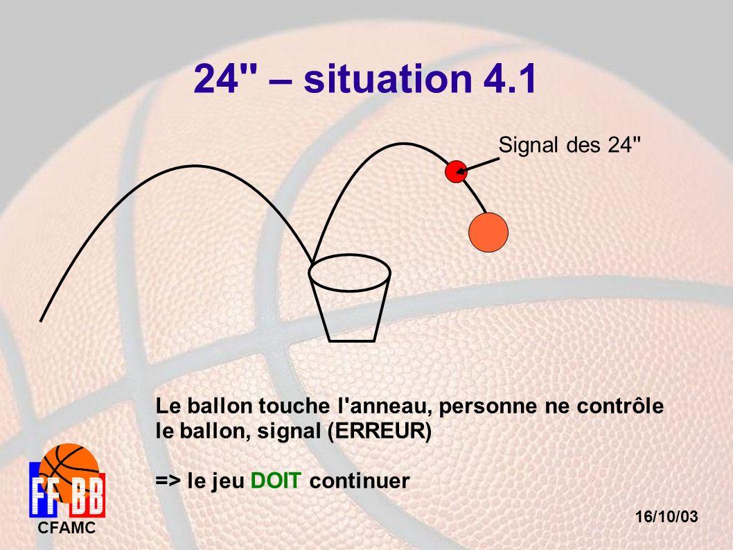 16/10/03 CFAMC 24'' – situation 4.1 Signal des 24'' Le ballon touche l'anneau, personne ne contrôle le ballon, signal (ERREUR) => le jeu DOIT continue