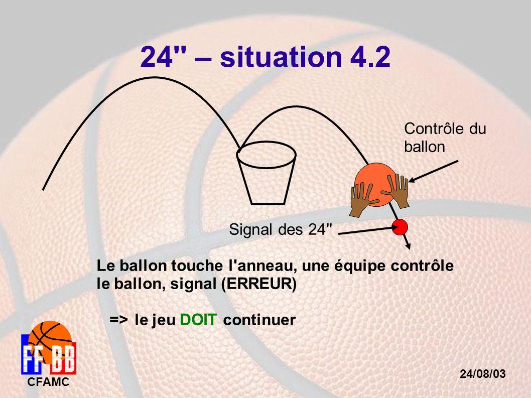 24/08/03 CFAMC 24'' – situation 4.2 Signal des 24'' Le ballon touche l'anneau, une équipe contrôle le ballon, signal (ERREUR) => le jeu DOIT continuer