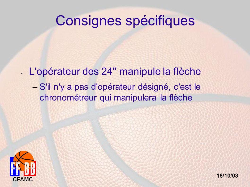 16/10/03 CFAMC Consignes spécifiques L'opérateur des 24'' manipule la flèche –S'il n'y a pas d'opérateur désigné, c'est le chronométreur qui manipuler