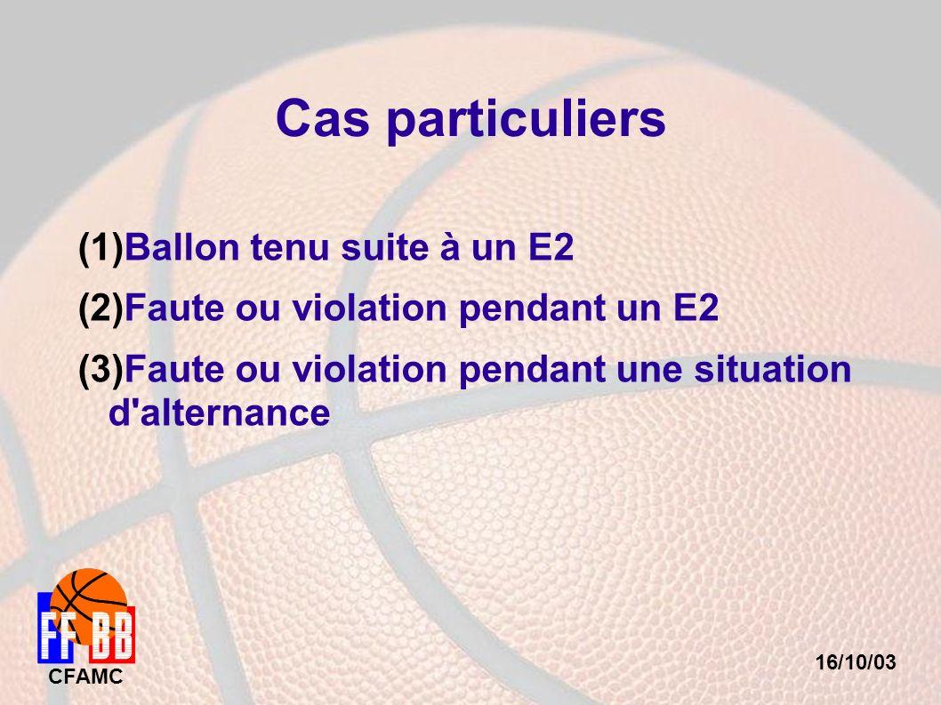 16/10/03 CFAMC Cas particuliers (1) Ballon tenu suite à un E2 (2) Faute ou violation pendant un E2 (3) Faute ou violation pendant une situation d'alte