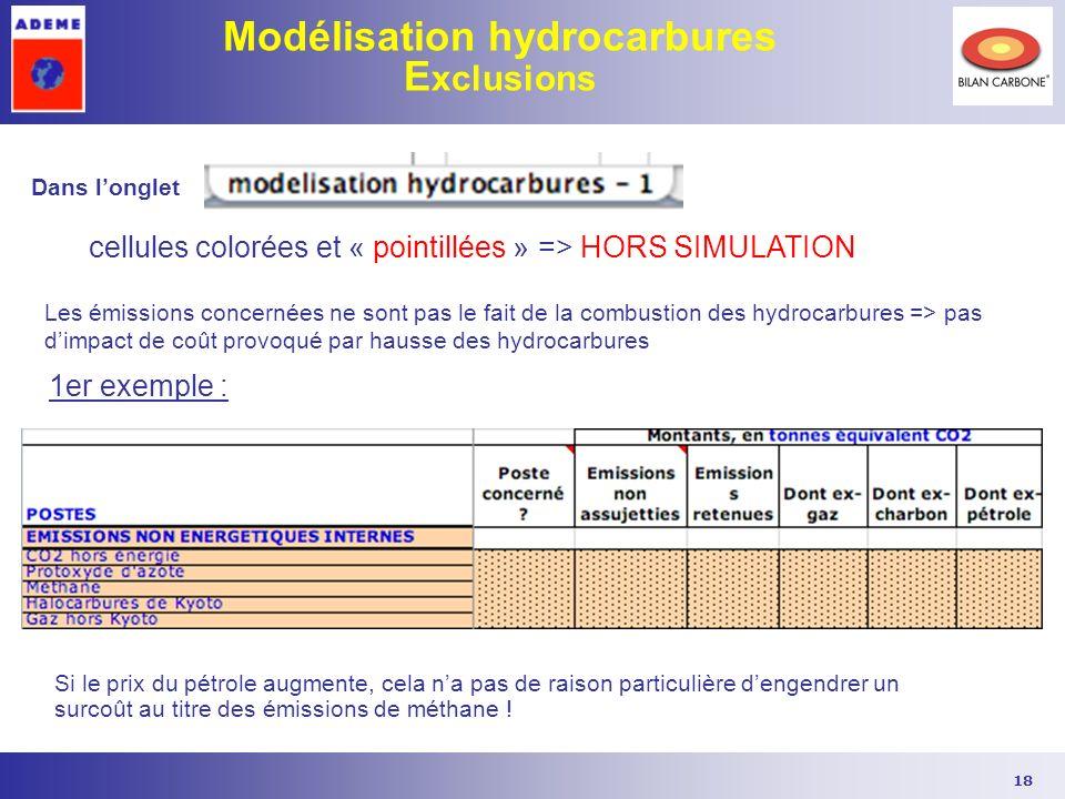 18 Modélisation hydrocarbures E xclusions Dans longlet cellules colorées et « pointillées » => HORS SIMULATION Les émissions concernées ne sont pas le
